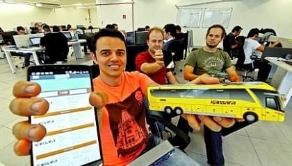 Empreendedores do Guichê Virtual Thiago Carvalho, Rodrigo Barbosa e Halyson Valadão.